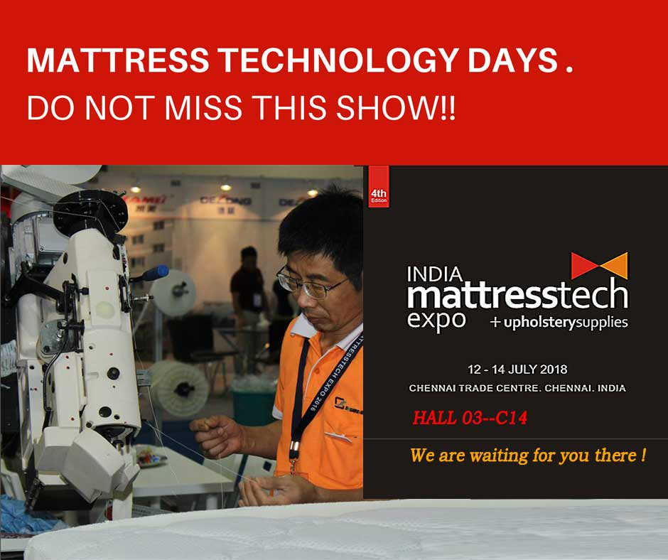 Nanjing square will attend 2018 India mattresstec expo in Chennai